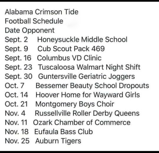 Just Got The 2019 Alabama Football Schedule Obx Connection Message